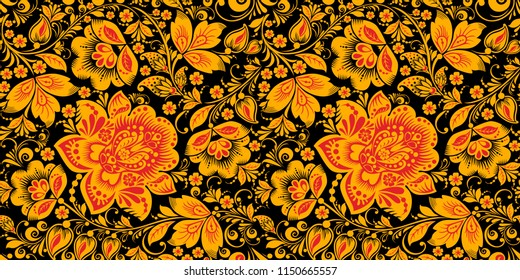 Russian national hohloma style seamless pattern in traditional black, red and gold colors. Classic khokhloma, national ornament. Floral art decor