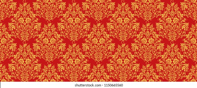 Russian national hohloma style seamless pattern in traditional red and gold colors. Classic khokhloma ornament. Floral art decor