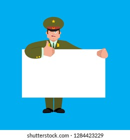 Russian Officer holding banner blank. Soldier and white blank. thumb up and winks joyful emotion Military in Russia. Illustration for 23 February. Defender of Fatherland Day.