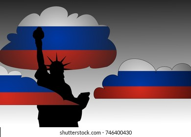 Russian Propaganda in the United States Concept as illustrated by a silhouette of the Statue of Liberty with clouds of Russian Flag colors surrounding it.