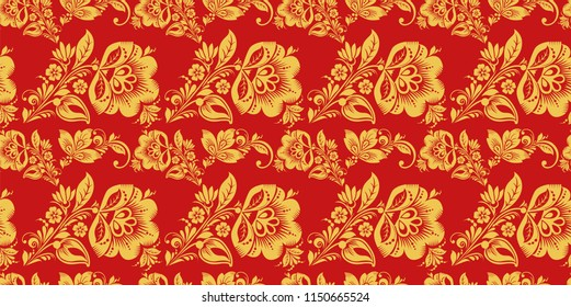 Russian seamless pattern with hohloma decor elements. Floral style decoration in red and gold colors. Classic khokhloma floral ornament