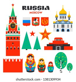 Russian set. Moscow Kremlin, Matrioshka and russian birches. Spasskaya tower of the Kremlin and mausoleum on red square in Moscow, Russia. Russian national landmarks in flat style on white background