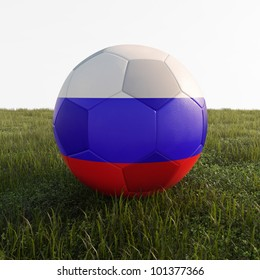 russian soccer ball isolated on grass