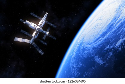 Russian Space Station And Blue Planet Earth. 3D Illustration.