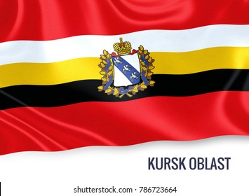 Russian state Kursk Oblast flag waving on an isolated white background. State name is included below the flag. 3D rendering.