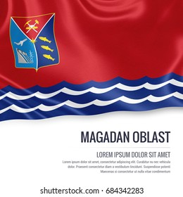 Russian state Magadan Oblast flag waving on an isolated white background. State name and the text area for your message. 3D illustration.
