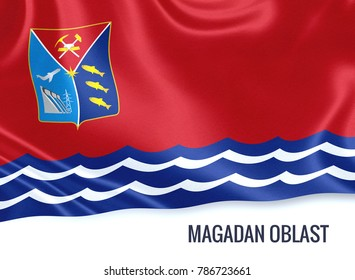 Russian state Magadan Oblast flag waving on an isolated white background. State name is included below the flag. 3D rendering.