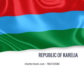 Russian state Republic of Karelia flag waving on an isolated white background. State name is included below the flag. 3D rendering.