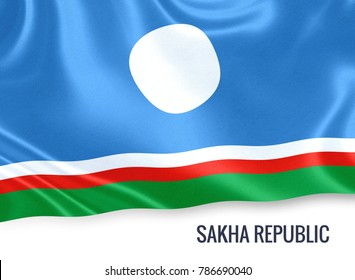 Russian state Sakha Republic flag waving on an isolated white background. State name is included below the flag. 3D rendering.