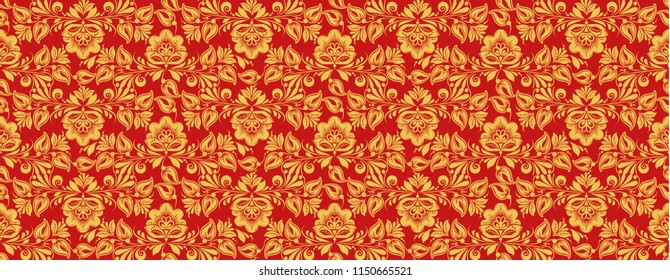 Russian traditional decor, seamless pattern in classic hohloma red and gold colors. Khokhloma floral ornament