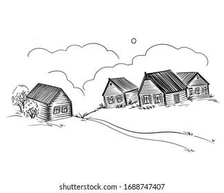 Russian village -  sketch on white background