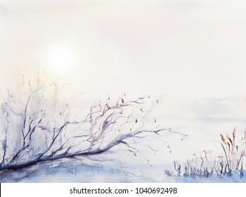 Russian winter landscape with sun and snow and a fallen tree. Morning, dawn. Watercolor painting.