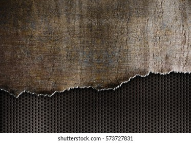 rust grunge metal background with torn edges 3D illustration