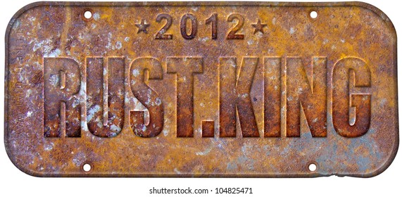 Rust king rusty license plate