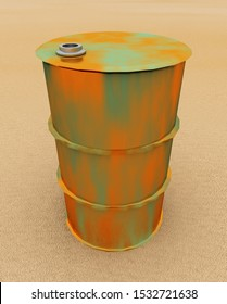 Rusted 55 gallon drum Computer generated 3D illustration