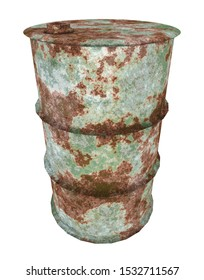 Rusted 55 gallon drum isolated on white background Computer generated 3D illustration