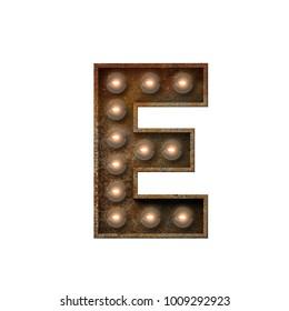 Rusted metal letter E light bulb font. 3D Rendering