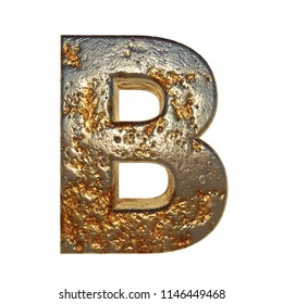 Rusted metal letter font. 3D Rendering