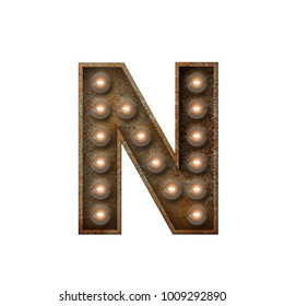 Rusted metal letter N light bulb font. 3D Rendering