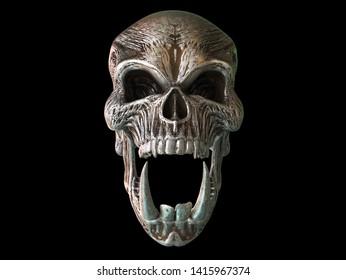 Rusted metal screaming demon skull with big sharp lower tusks - 3D Illustration