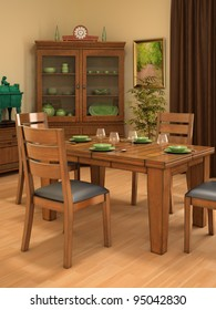 rustic dining room including wardrobe, tableware, houseplant, tableware, curtain and picture