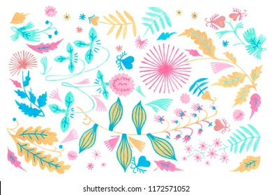 Rustic floral art, Gouache illustration of herbal flowers decor. Ornamental ethnic motifs with fashion primitive rural design.