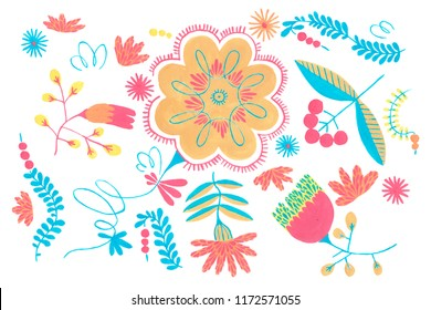 Rustic floral art, Gouache illustration of herbal flowers decor. Ornamental ethnic motifs with fashion primitive rural design.