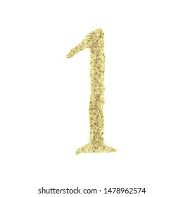 Rustic gold number one 1 in a 3D illustration with an eroded worn metal surface texture in a metallic golden color jagged edge font isolated on white with clipping path