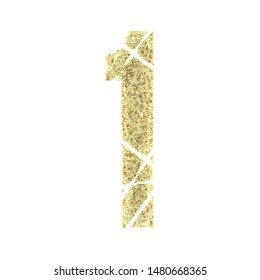 Rustic gold number one 1 in a 3D illustration with an eroded worn metal surface texture in a metallic golden color broken shattered font isolated on white with clipping path