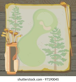 Rustic golf party or tournament invitation with a vintage aged feel. Golf bags with golf clubs on grungy vintage paper with faded pine trees, set against a wood background.