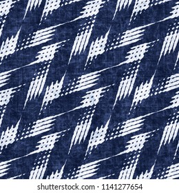 Rustic Herringbone Motif Dyed In Mottled White And Indigo Shades. Seamless Pattern.