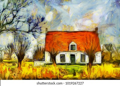 A rustic house at the bank of Damme canal in Belgium (photo turned into the Van Gogh style painting with a photo to painting application)
