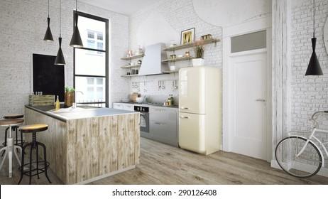 Rustic kitchen 3d render