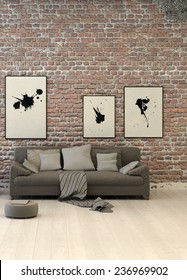 Rustic living area with a rough textured red face brick wall hung with abstract art above a generic upholstered grey sofa with cushions on a painted wood parquet floor. 3D Rendering.