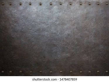 rustic metal plate with rivets 3d illustration