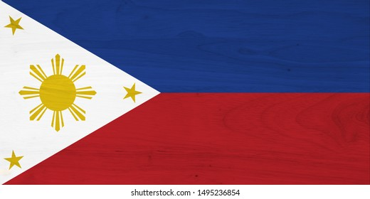 A rustic old Philippines flag on weathered wood for a background 3D Illustration