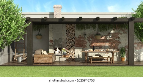 Rustic pergola in a garden with dining table,barbecue and sofa - 3d rendering