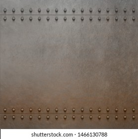 rustic plate with rivets metal background 3d illustration