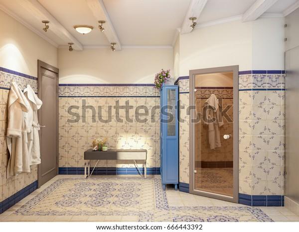 Illustration De Stock De Rustic Provence Salle De Bain Espagnole 666443392