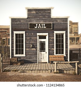 Rustic western town jail. 3d rendering. Part of a western town series