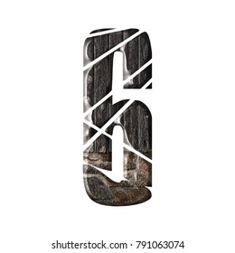 Rustic wood and stone style number six 6 in a 3D illustration with a rural wooden boards and stones texture and shattered font isolated on a white background with clipping path.