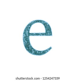 Rustic worn blue metal letter E (lowercase) in a 3D illustration with a rough weathered metallic textured surface & classic font style isolated on white with clipping path