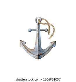 Rusty anchor with rope- watercolor illustration isolated on white background, hand drawn clipart. Illustration for clothes, stickers, baby shower, greeting cards, prints.