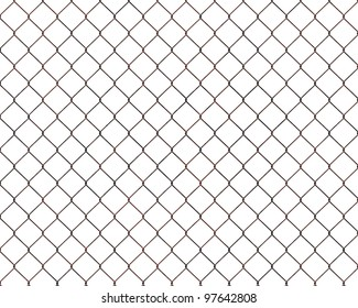 Rusty chain link fence isolated on white background