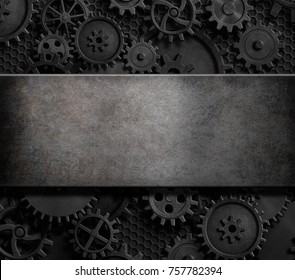 rusty cogs and gears steam punk 3d illustration background