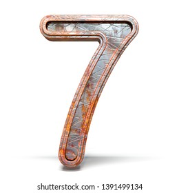 Rusty metal font Number 7 SEVEN 3D render illustration isolated on white background