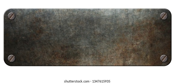 Rusty metal plate with rivets on white background 3D illustration