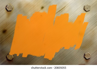 Rusty metal or steel background texture with bolts and orange paint for adding text