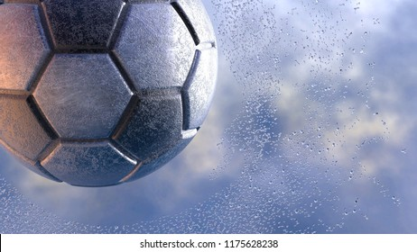 Rusty Metallic black-silver soccer ball with water splash. 3D illustration. 3D high quality rendering.