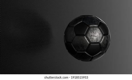 Rusty metallic silver-black soccer ball on spot light. 3D illustration. 3D high quality rendering.